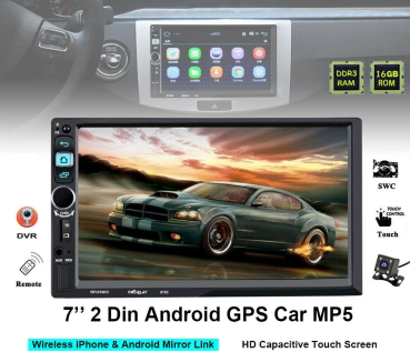 "7 ""2 Din Auto Bildschirm G P S Android + Kamera BT MP5 Touchscreen iOS Mirror Link"