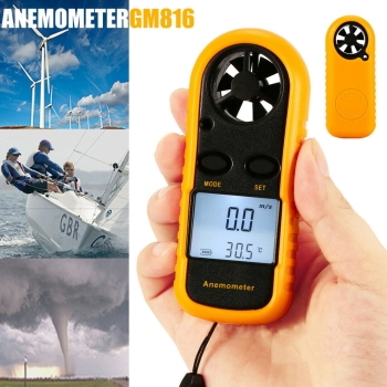 Digitaler Windmesser Thermometer Anemometer Windgeschwindigkeit Meter Tester LCD