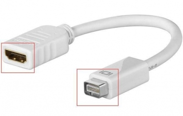 Mini DVI-Adapter Mini DVI Stecker HDMI Buchse Adapter Konverter 16cm für Macbook iMac
