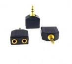 3,5mm Audio Y Splitter Verteiler für MP3 Verteiler für MP3 PC AUX Kabel Adapter Schwarz