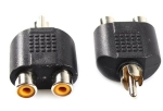 AV Audio Cinch Y Adapter Verteiler Splitter 2 Chinch Buchse auf 1 RCA Stecker